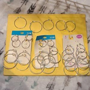 Lots of silver hoop earrings various sizes